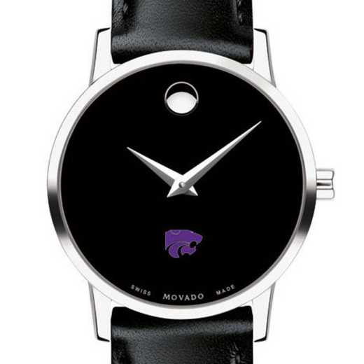 615789892533: Kansas State Uni Women's Movado Museum with Leather Strap