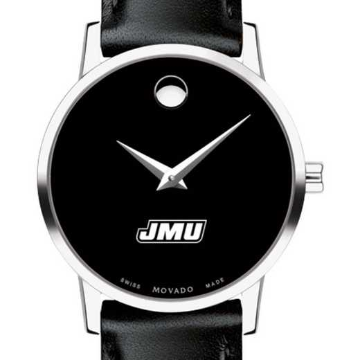 615789919384: James Madison Univ Women's Movado Museum w/ Leather Strap