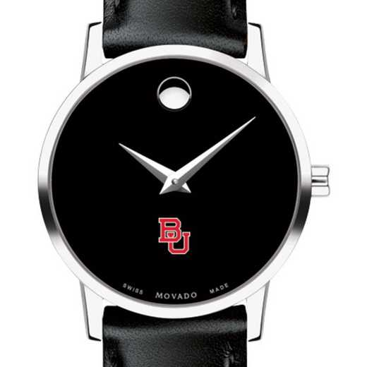 615789981404: Boston Univ Women's Movado Museum w/ Leather Strap