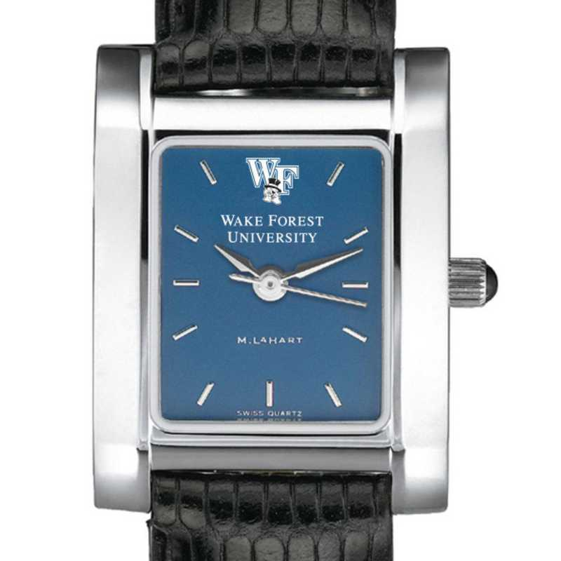 615789080749: Wake Forest Women's Blue Quad Watch W/ Leather Strap