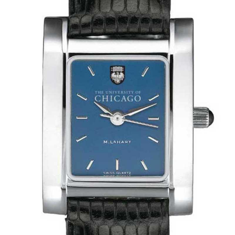 615789182139: Chicago Women's Blue Quad Watch W/ Leather Strap