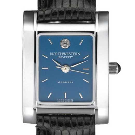 615789225560: Northwestern Women's Blue Quad Watch W/ Leather Strap