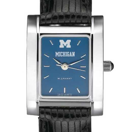 615789347514: Michigan Women's Blue Quad Watch W/ Leather Strap