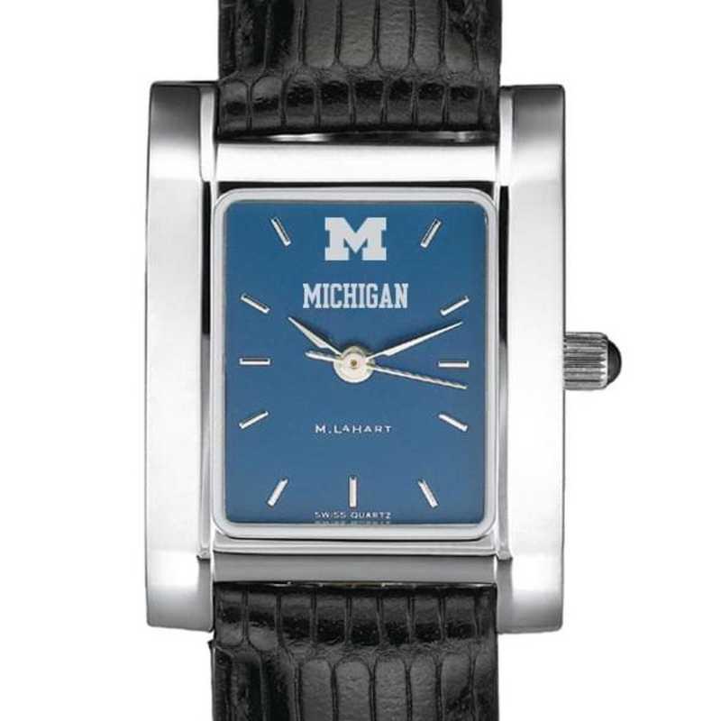 615789347514: Michigan Women's Blue Quad Watch W/ Leather Strap