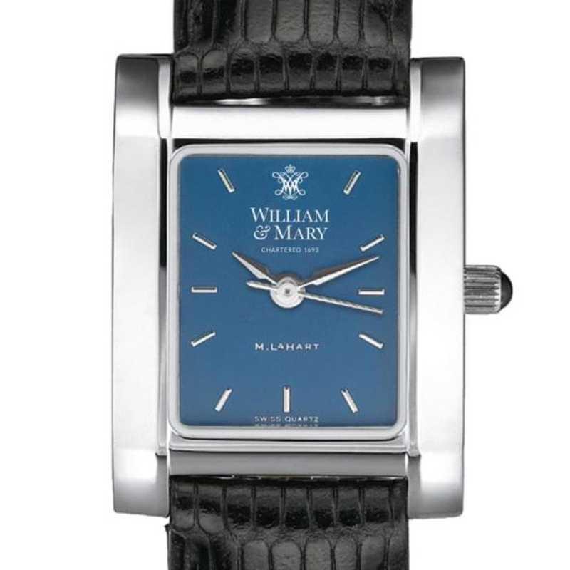 615789411277: William & Mary Women's Blue Quad Watch W/ Leather Strap