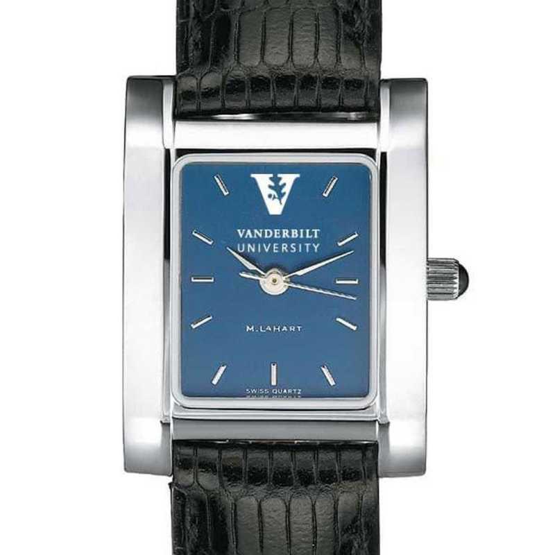 615789585701: Vanderbilt Women's Blue Quad Watch W/ Leather Strap