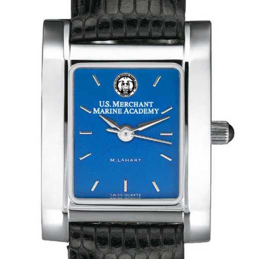 615789706717: USMMA Women's Blue Quad Watch W/ Leather Strap