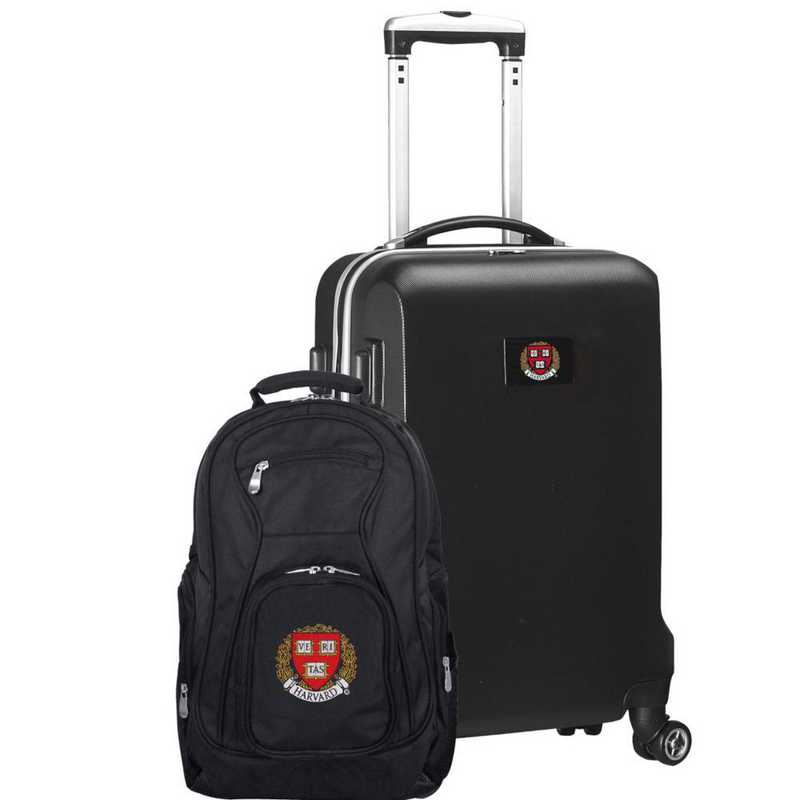 CLHAL104-BLACK: Harvard Crimson Deluxe 2PC BP / Carry on Set