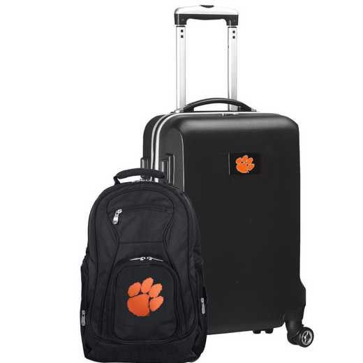 CLCLL104-BLACK: Clemson Tigers Deluxe 2PC BP / Carry on Set