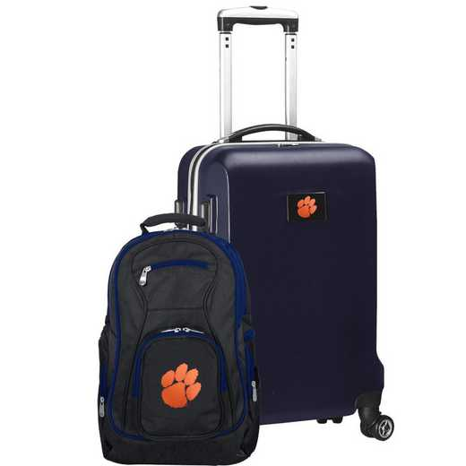 CLCLL104-NAVY: Clemson Tigers Deluxe 2PC BP / Carry on Set