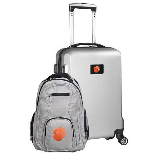 CLCLL104-SILVER: Clemson Tigers Deluxe 2PC BP / Carry on Set