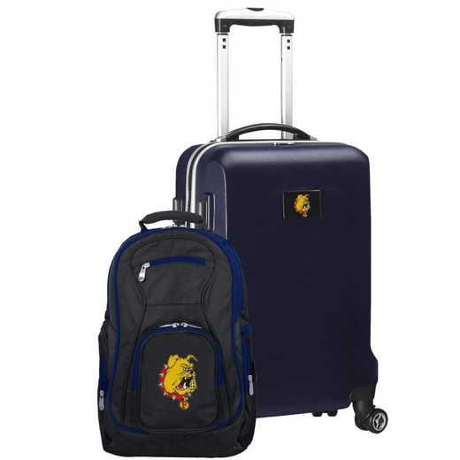 CLFEL104-NAVY: Ferris State Bulldogs Deluxe 2PC BP / Carry on Set