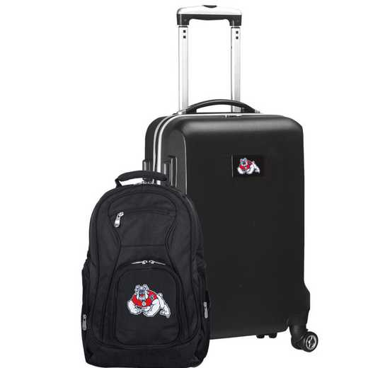 CLFRL104-BLACK: Fresno State Bulldogs Deluxe 2PC BP / Carry on Set