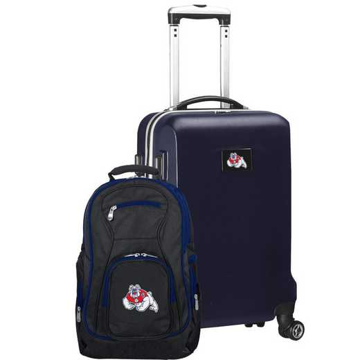 CLFRL104-NAVY: Fresno State Bulldogs Deluxe 2PC BP / Carry on Set