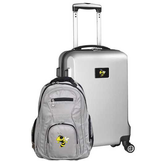 CLGTL104-SILVER: Georgia Tech Yellow Jackets Deluxe 2PC BP / Carry on Set