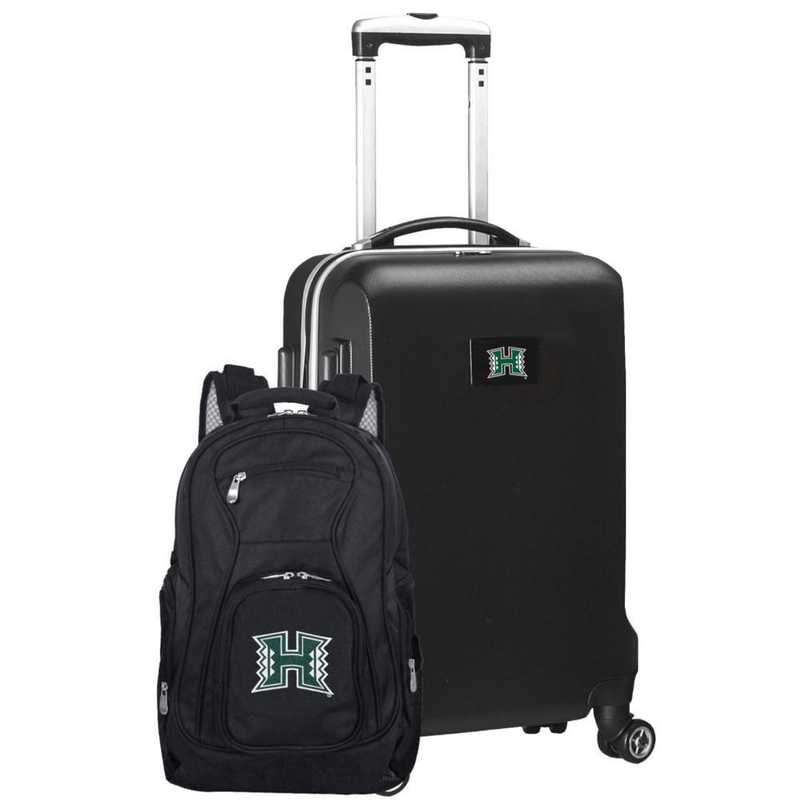 CLHIL104-BLACK: Hawaii Warriors Deluxe 2PC BP / Carry on Set