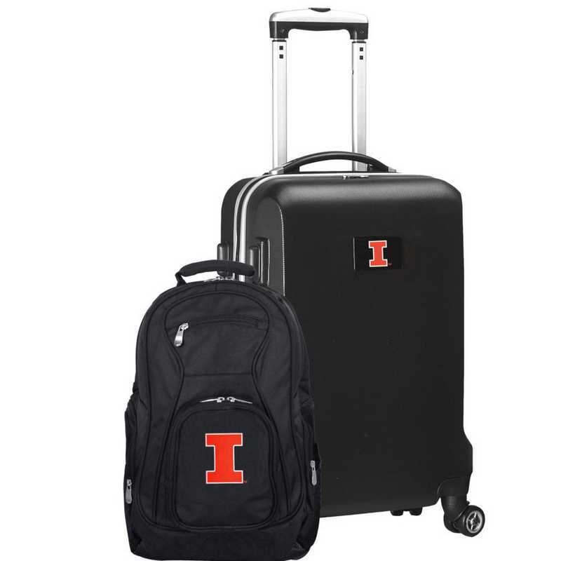 CLILL104-BLACK: Illinois Fighting Illini Deluxe 2PC BP / Carry on Set