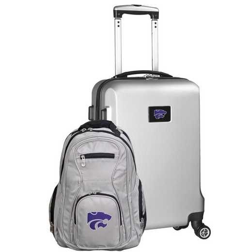 CLKSL104-SILVER: Kansas State Wildcats Deluxe 2PC BP / Carry on Set