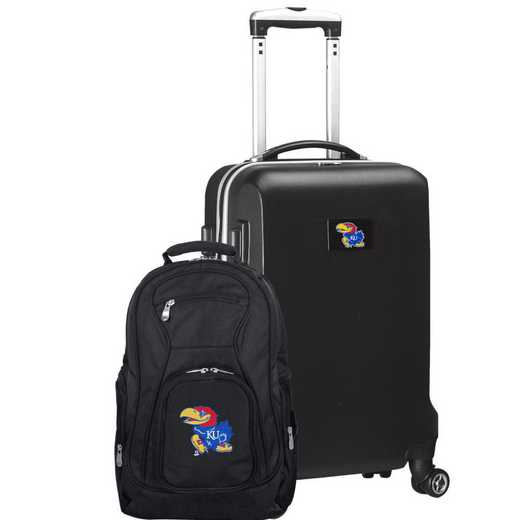 CLKUL104-BLACK: Kansas Jayhawks Deluxe 2PC BP / Carry on Set