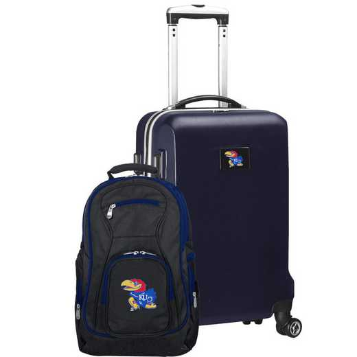 CLKUL104-NAVY: Kansas Jayhawks Deluxe 2PC BP / Carry on Set