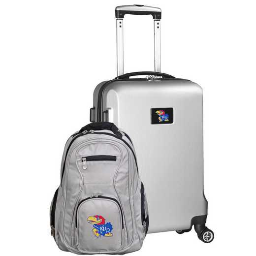 CLKUL104-SILVER: Kansas Jayhawks Deluxe 2PC BP / Carry on Set