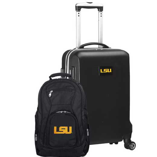 CLLSL104-BLACK: Louisiana Tigers Deluxe 2PC BP / Carry on Set