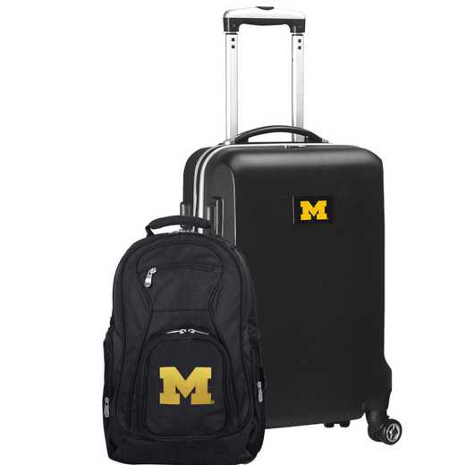 CLMCL104-BLACK: Michigan Wolverines Deluxe 2PC BP / Carry on Set