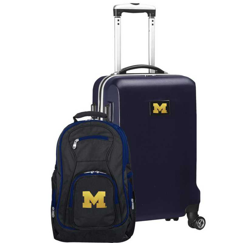 CLMCL104-NAVY: Michigan Wolverines Deluxe 2PC BP / Carry on Set