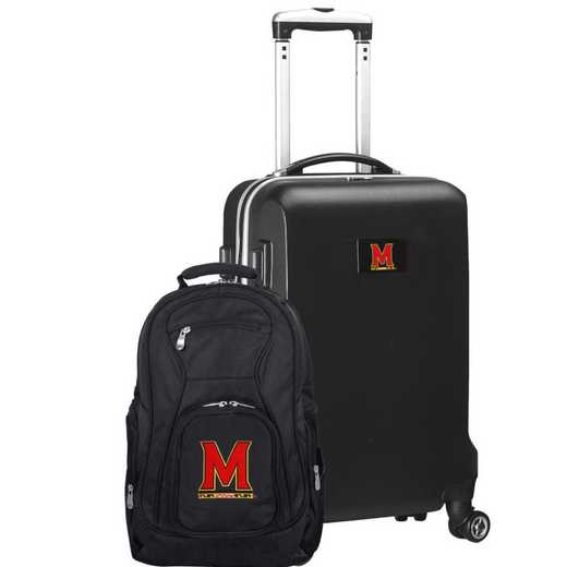 CLMDL104-BLACK: Maryl/ Terrapins Deluxe 2PC BP / Carry on Set