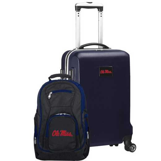 CLMIL104-NAVY: Mississippi Ole Miss Deluxe 2PC BP / Carry on Set