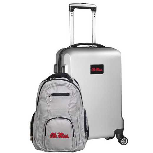 CLMIL104-SILVER: Mississippi Ole Miss Deluxe 2PC BP / Carry on Set
