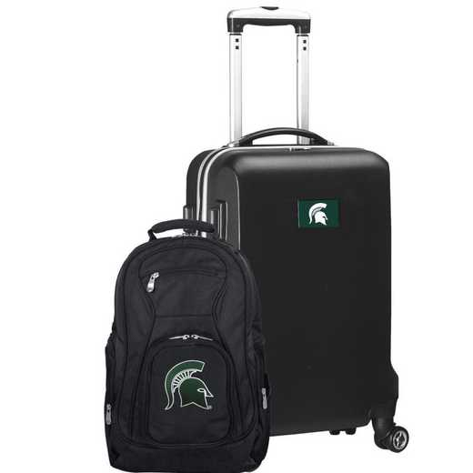 CLMSL104-BLACK: Michigan State Spartans Deluxe 2PC BP / Carry on Set
