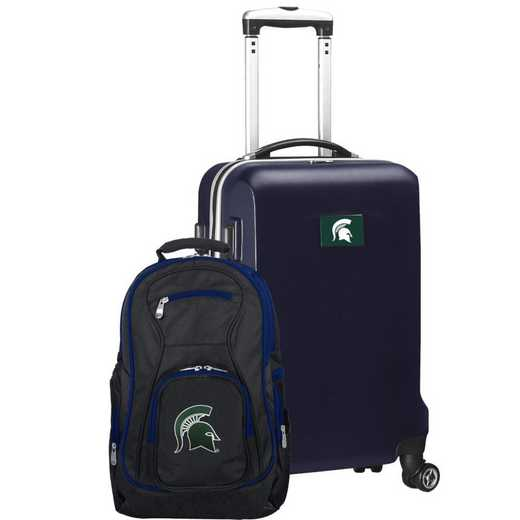 CLMSL104-NAVY: Michigan State Spartans Deluxe 2PC BP / Carry on Set