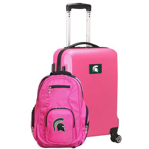 CLMSL104-PINK: Michigan State Spartans Deluxe 2PC BP / Carry on Set