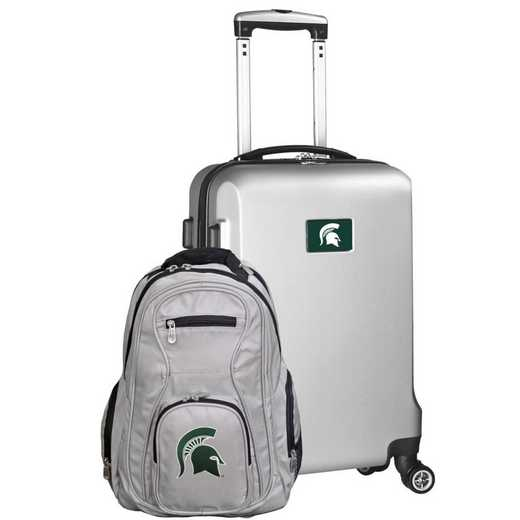 CLMSL104-SILVER: Michigan State Spartans Deluxe 2PC BP / Carry on Set