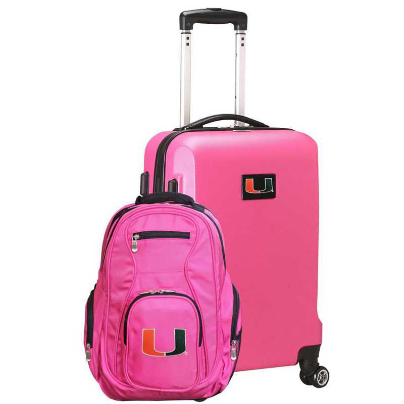 CLMUL104-PINK: Miami Hurricanes Deluxe 2PC BP / Carry on Set