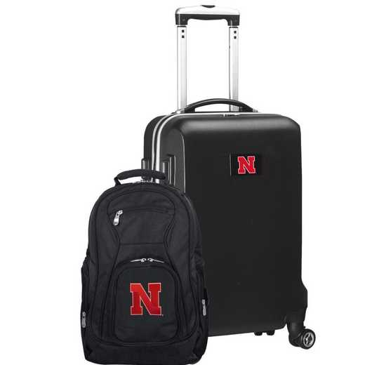 CLNBL104-BLACK: Nebraska Cornhuskers Deluxe 2PC BP / Carry on Set