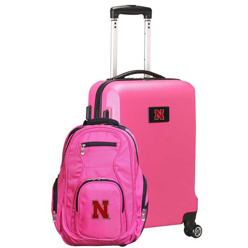 CLNBL104-PINK: Nebraska Cornhuskers Deluxe 2PC BP / Carry on Set