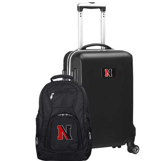 CLNEL104-BLACK: Northeastern Huskies Deluxe 2PC BP / Carry on Set