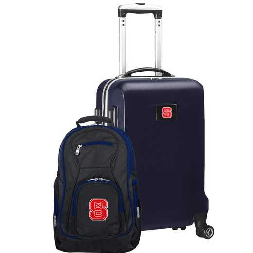 CLNSL104-NAVY: NC State Wolfpack Deluxe 2PC BP / Carry on Set