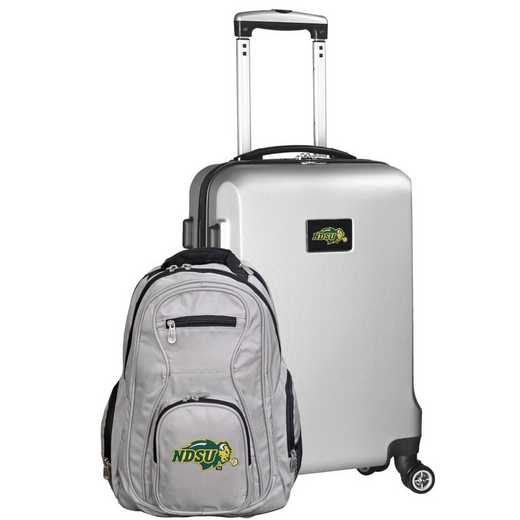 CLNUL104-SILVER: North Dakota State Bison Deluxe 2PC BP / Carry on Set