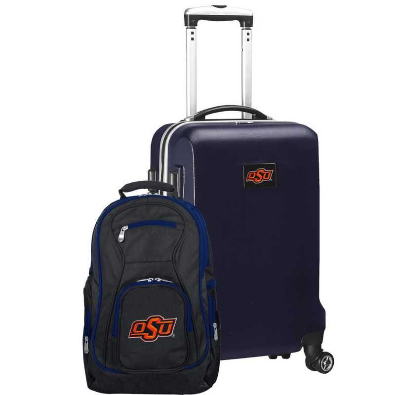 CLOKL104-NAVY: Oklahoma State Cowboys Deluxe 2PC BP / Carry on Set
