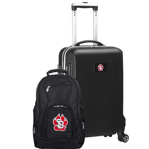 CLSDL104-BLACK: South Dakota Coyotes Deluxe 2PC BP / Carry on Set