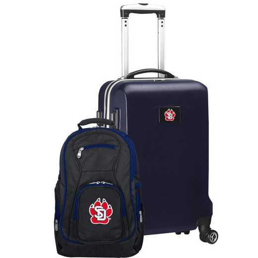 CLSDL104-NAVY: South Dakota Coyotes Deluxe 2PC BP / Carry on Set