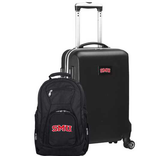 CLSML104-BLACK: Southern Methodist Mustangs Deluxe 2PC BP / Carry on Set