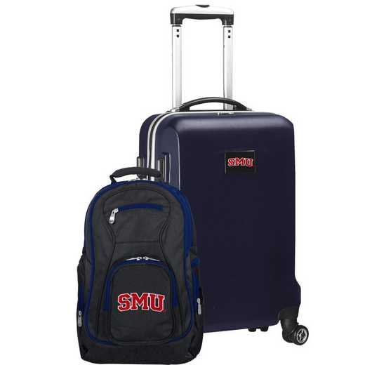 CLSML104-NAVY: Southern Methodist Mustangs Deluxe 2PC BP / Carry on Set