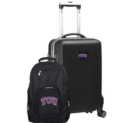 CLTCL104-BLACK: TCU Horned Frogs Deluxe 2PC BP / Carry on Set