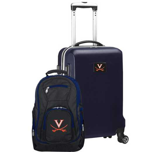CLVIL104-NAVY: Virginia Cavaliers Deluxe 2PC BP / Carry on Set