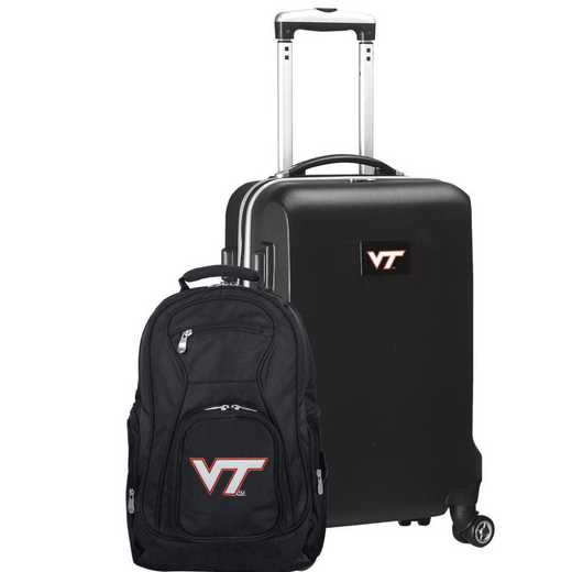 CLVTL104-BLACK: Virginia Tech Hokies Deluxe 2PC BP / Carry on Set