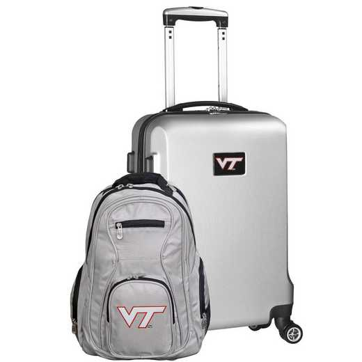 CLVTL104-SILVER: Virginia Tech Hokies Deluxe 2PC BP / Carry on Set